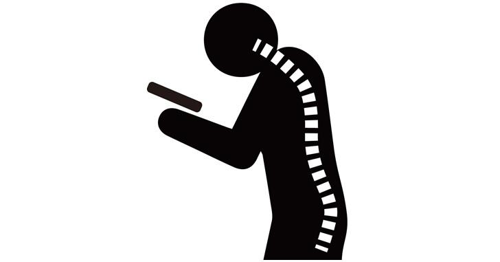 スマホ首の背骨イメージ