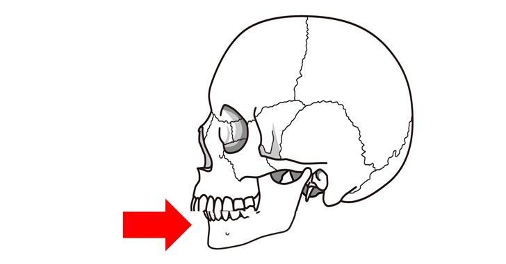 顎が後ろにずれているイメージ