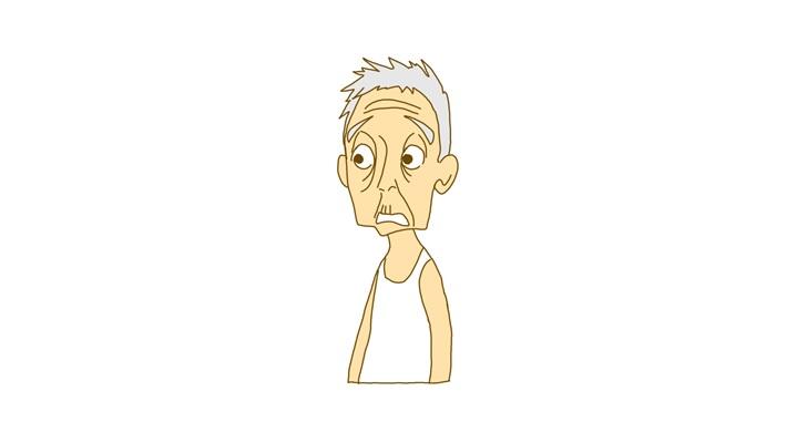 あんぐり顔の老人