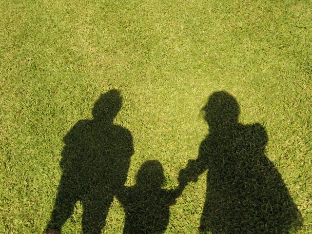 芝生に写る影