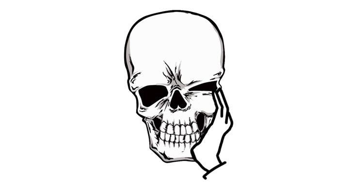 頬杖で骸骨が歪む
