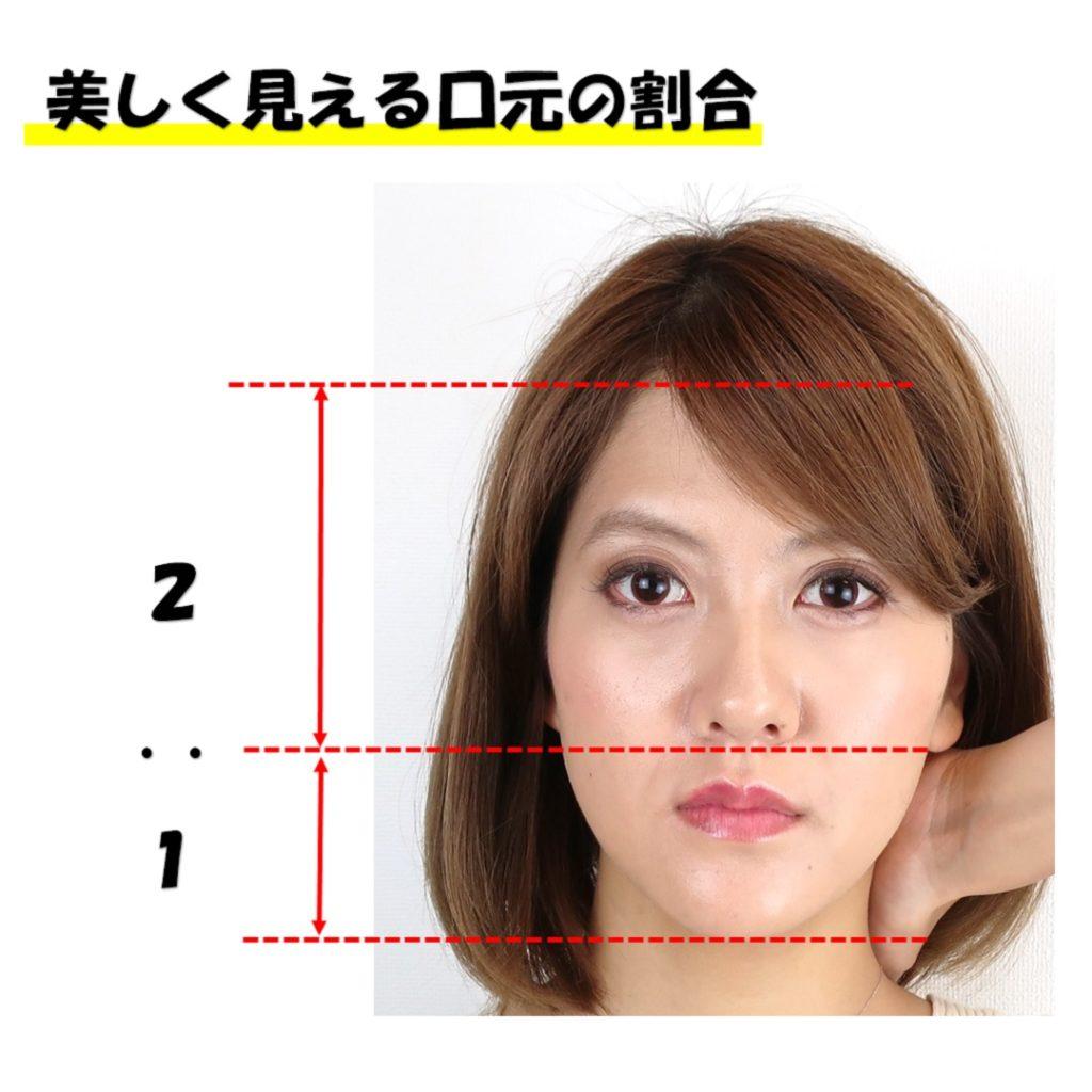 美しく見える口元の割合額鼻顎