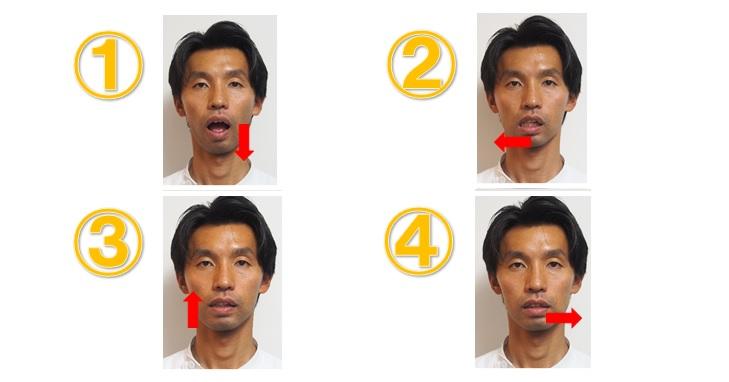 右で噛む際の顎の動き